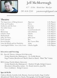 talent acting resume actor beginner theatre