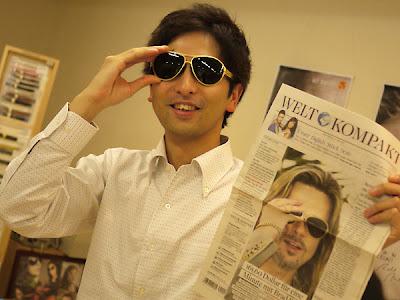4dd2e5bd78 Brad Pitt wears IC! Berlin sunglasses in a paper.