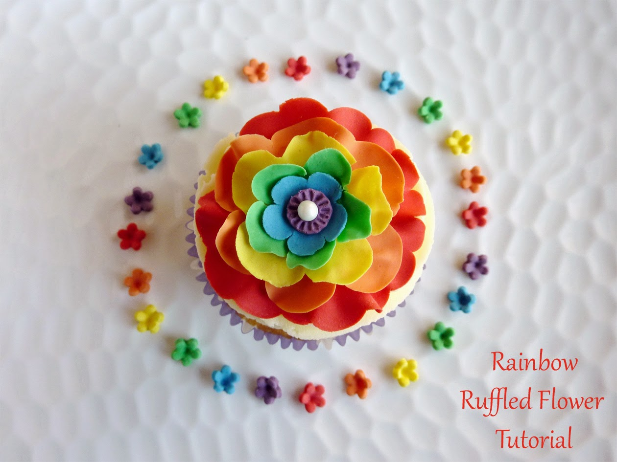 Rainbow Ruffled Fondant Flower Tutorial