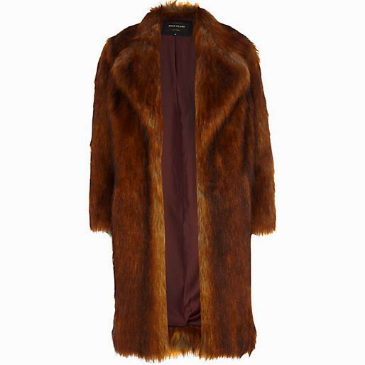 river island brown fur coat