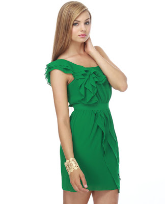 Lime+in+The+Coconut+One+Shoulder+Green+Dress