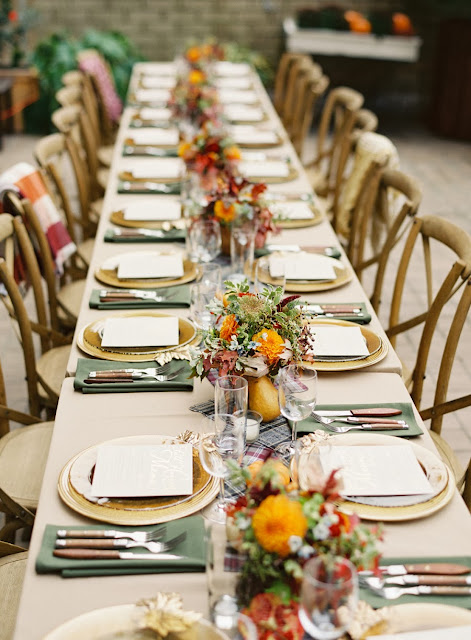 Al fresco fall dining table setting from Judy Pak Photography