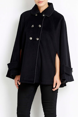 Wallis Black Military Cape Coat