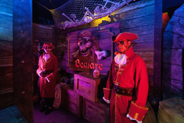 Elaborate costumed pirates greet you at The Pirate Adventure