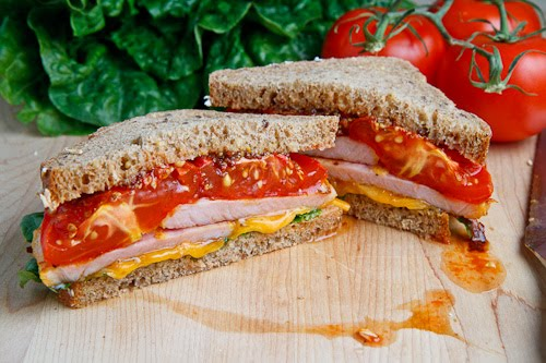 Peameal Bacon And Roasted Tomato Sandwich With Cheddar ...