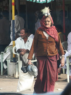 Gujarati Old Woman in Traditional Attire