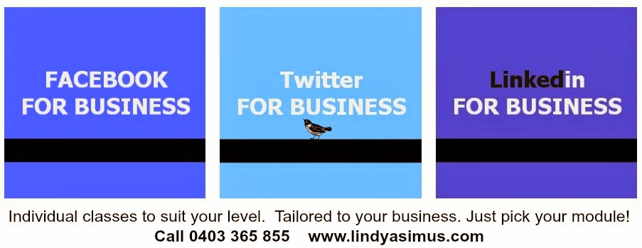 Linkedin For Business, Twitter for Business, Facebook for business, classes http://www.lindyasimus.com