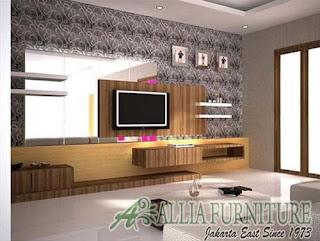 dinding ruang tamu minimalis dengan wallpaper