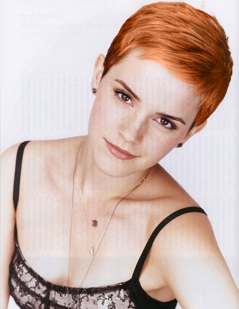 emma watson short hair pictures. hot makeup Emma Watson short