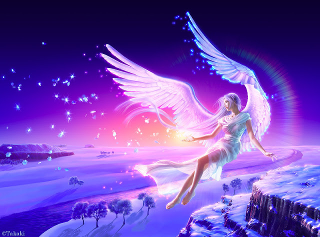 Kagaya, anjo de luz, arte digital, 2036