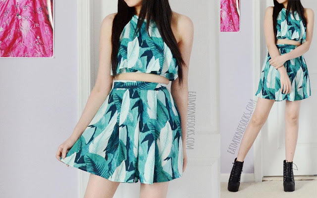 Full photos of the aqua-green leaf/floral-print two-piece halter crop top and high-waisted shorts set from WalkTrendy.