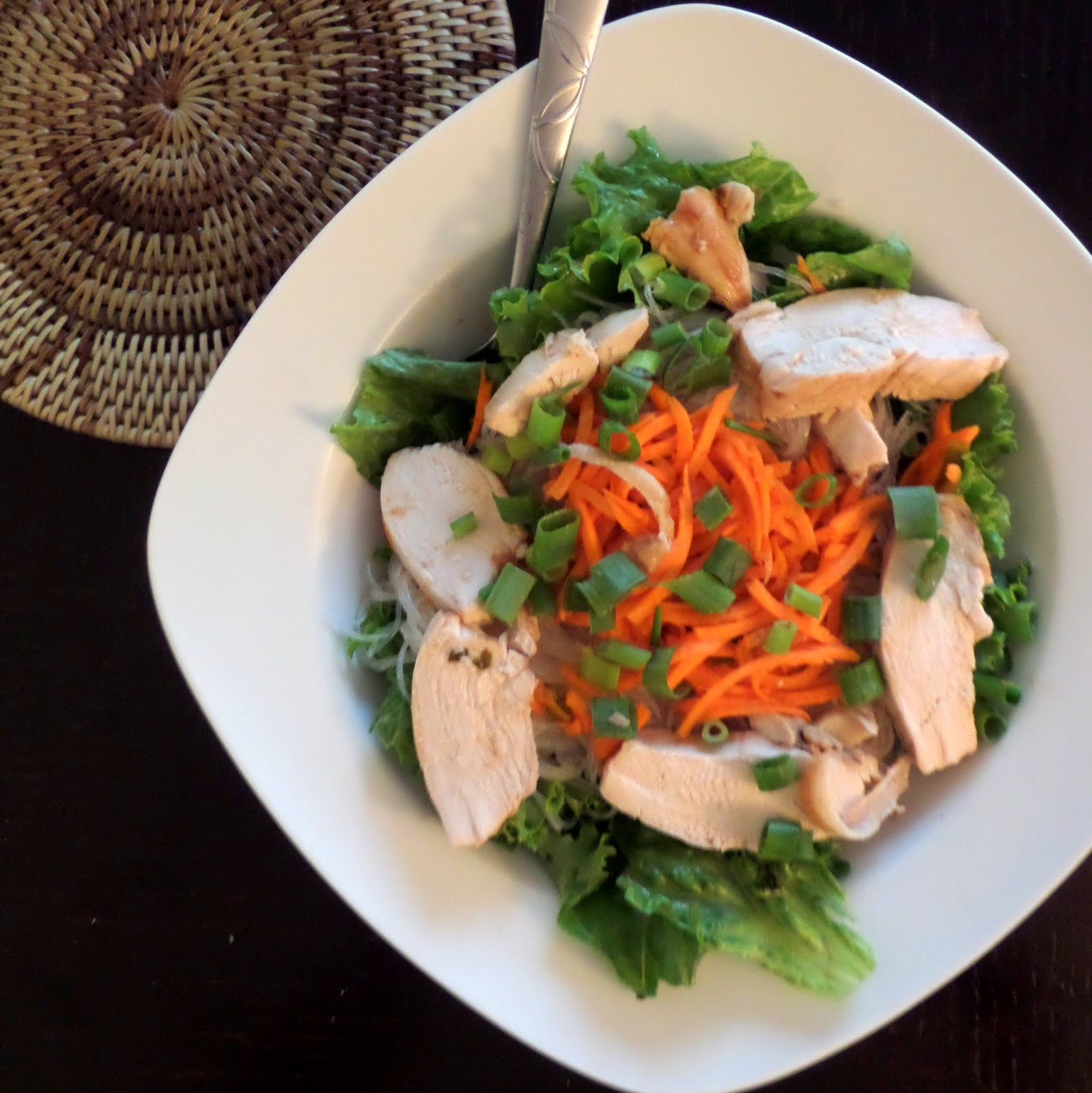 Lemongrass Chicken Vermicelli:  A fresh salad with herbs, vegetables, and rice noodles topped with juicy chicken flavored with lemongrass and other southeast Asian flavors.