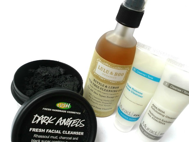 A picture of Lush Dark Angels Fresh Facial Cleanser, Lulu & Boo Nettle & Lemon Tea-Free Cleansing Oil, Murad Time Release Acne Cleanser and Murad AHA/BHA Exfoliating Cleanser
