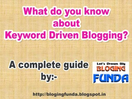 What is keyword driven blogging and What is the best way for Keyword Driven Blogging? How to start a blog post by using suitable keywords.