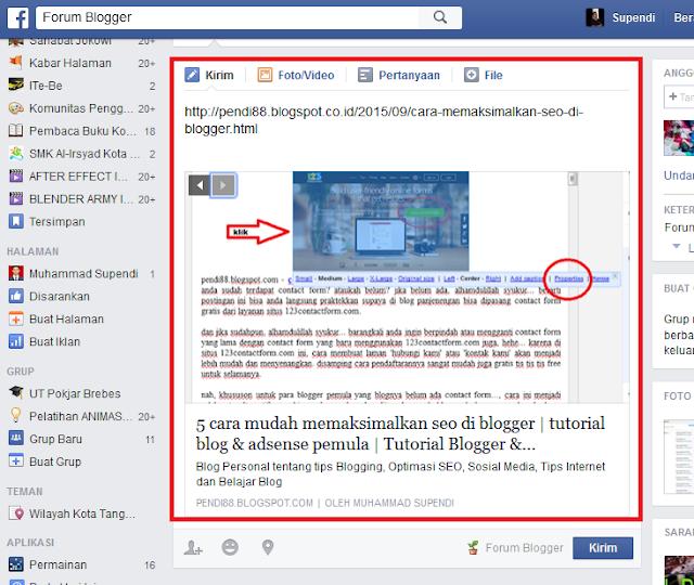 Cara posting di blog facebook
