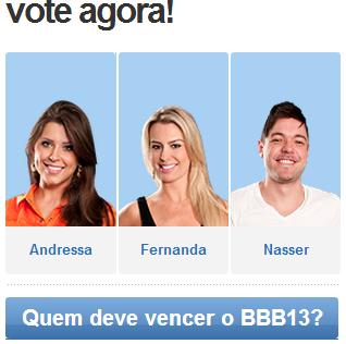 BBB 13: Andressa, Fernanda e Nasser estão na final, Nasser merece ser campeão
