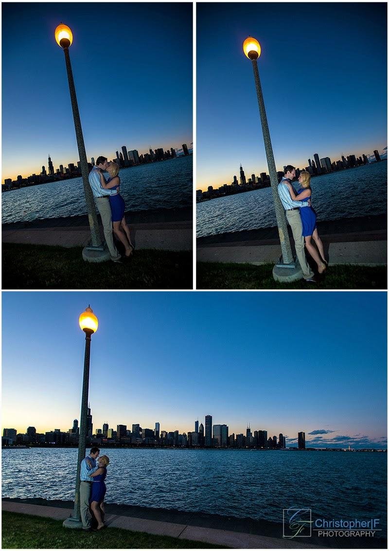 Chicago Skyline Night Engagement Photo