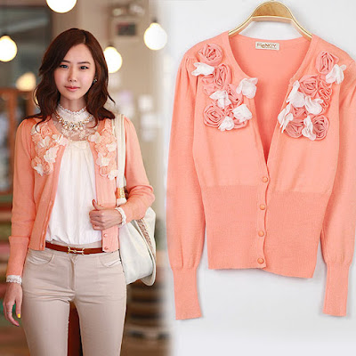 model cardigan korea motif bunga warna orange