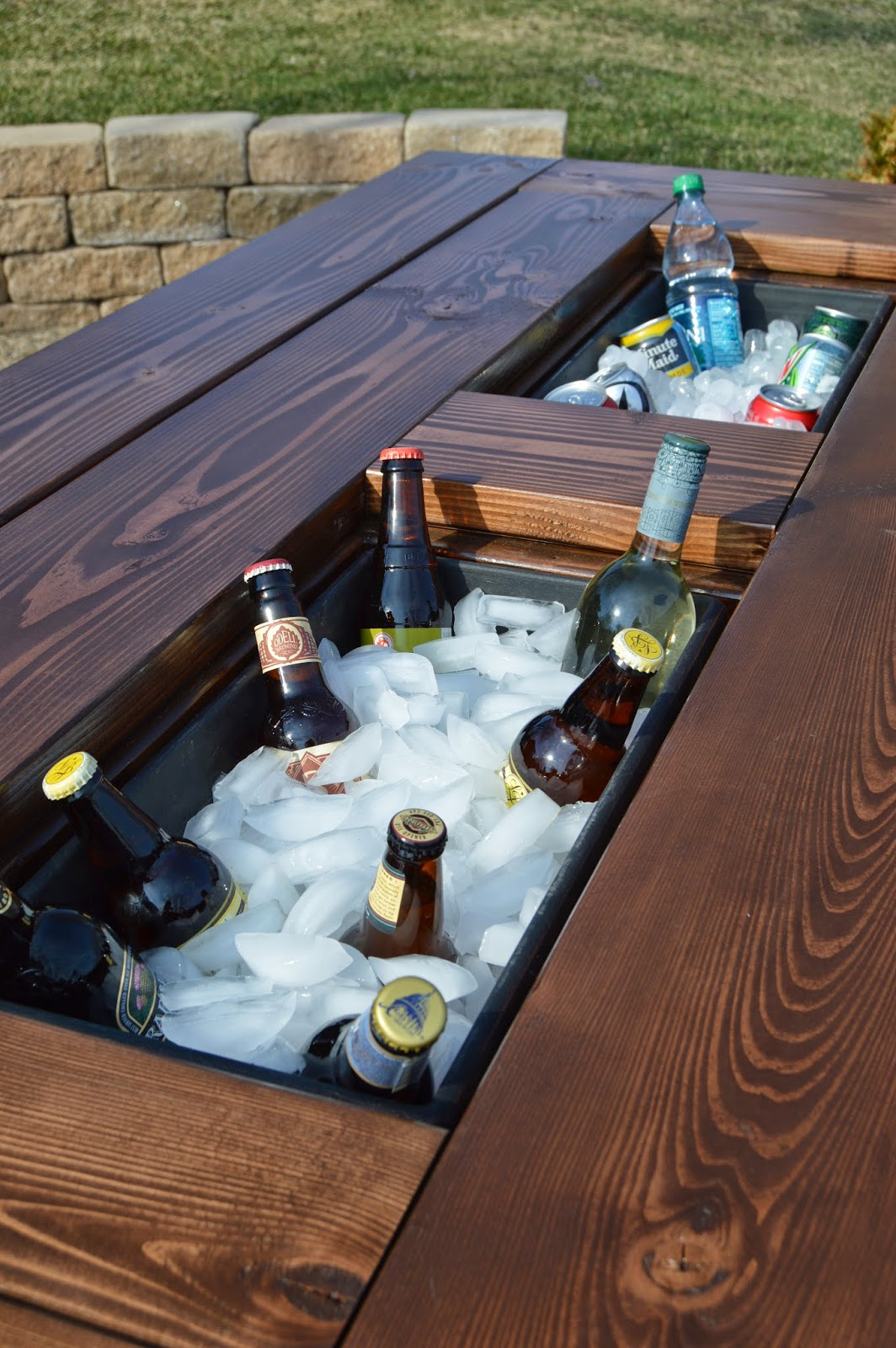Patio Party Table With Built In Beer/Wine Ice Coolers