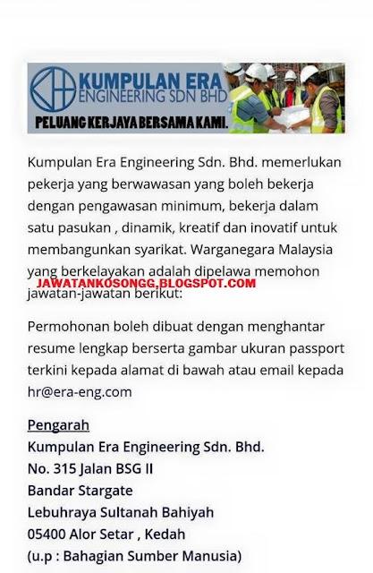 Cara Mohon Kerja di Kumpulan Era Engineering Sdn Bhd