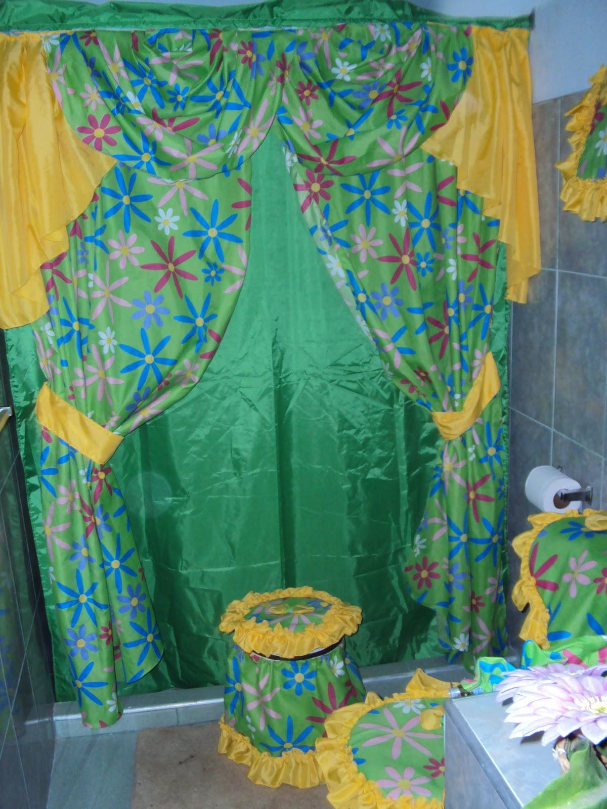 Cortinas De Baño Infantiles:Juego de baño con cortina doble, cenefa y 5 piezas básicas