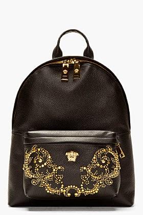 http://www.ssense.com/men/product/versace/black_grain_leather_multiple_gold_stud_backpack/90922