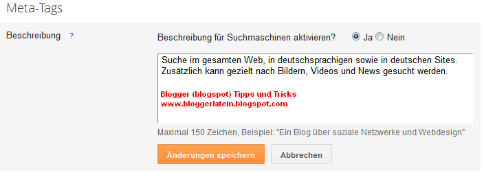 Meta Tags Blogger Blogspot. Suchmschinenoptimierung Blogger Blogspot. Sucheinstellungen Blogger Blogspot.