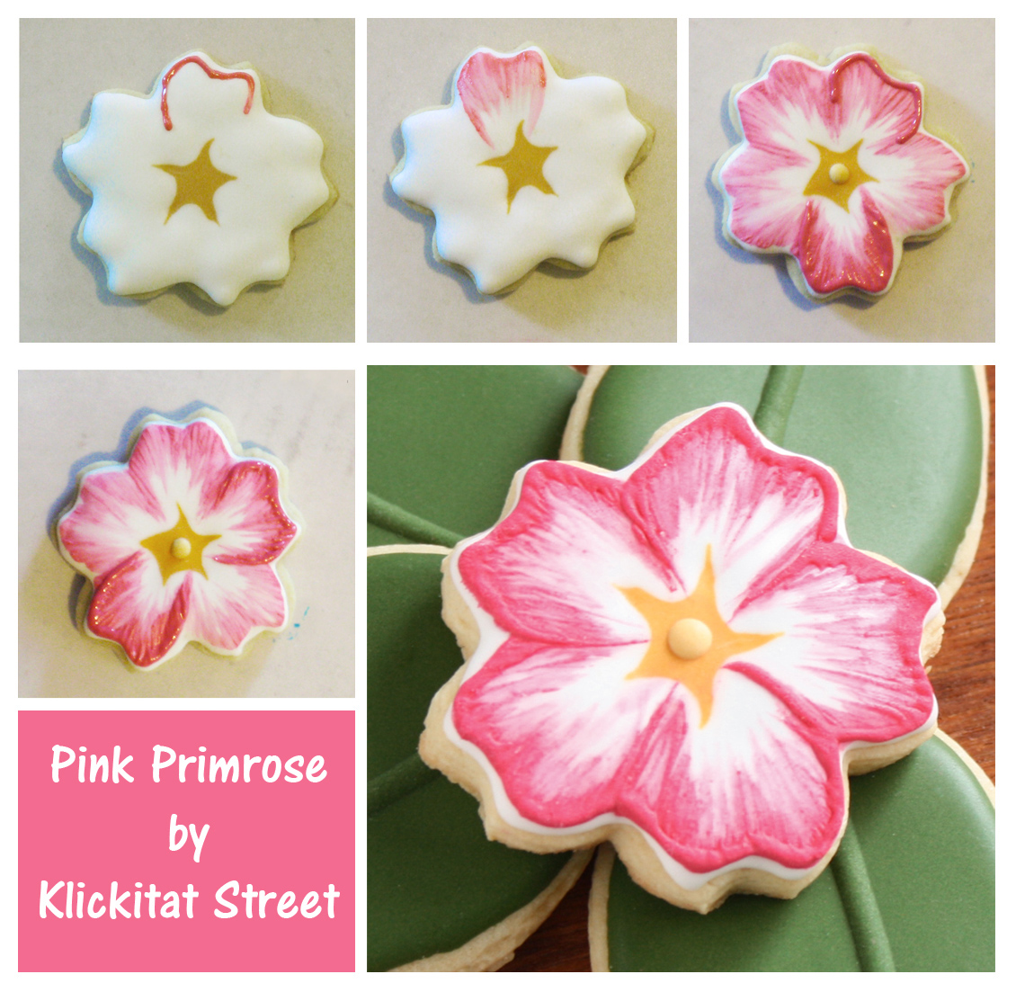 decorated sugar cookies made to look like pink primrose flowers by Klickitat Street