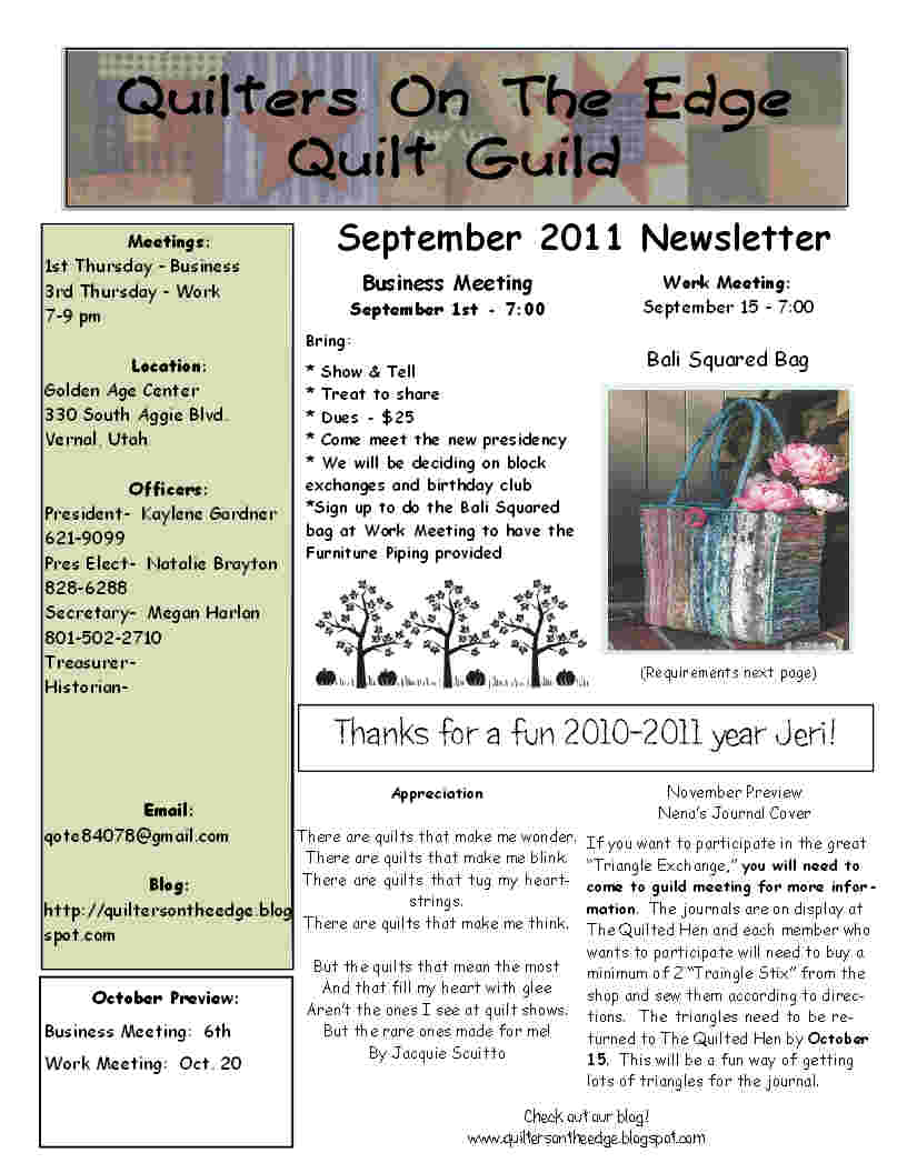 Quilt Guild Newsletter Ideas : Quilters On The Edge Quilt Guild: September 2011 Newsletter