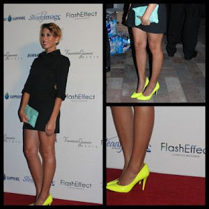 Looks I Luv: Neon Yellow Pumps With Black Shirt Dress