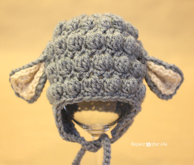 Free Crochet Pattern Baby Lamb : Crochet Lamb Hat Pattern - Repeat Crafter Me