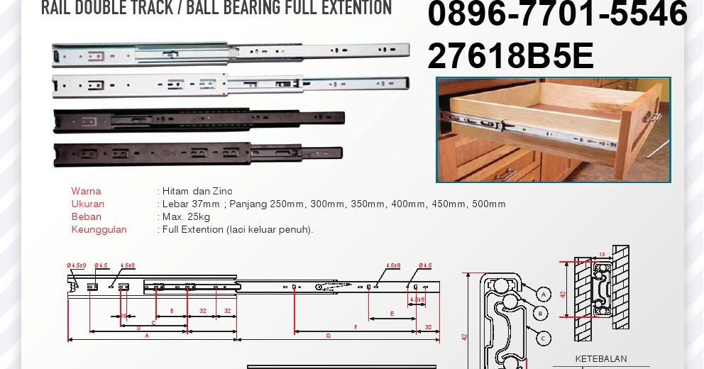 Rel laci ball bearing full extension lintang fittings for Laci kitchen set
