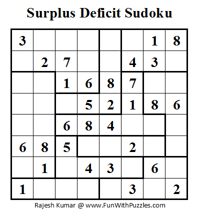 Surplus Deficit Sudoku (Fun With Sudoku #2)