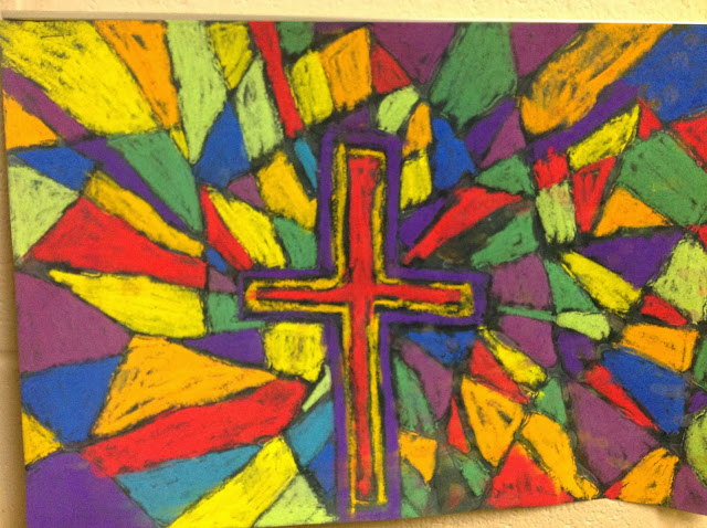 4th Grade Stained Glass with Glue Resist and Chalk Pastels