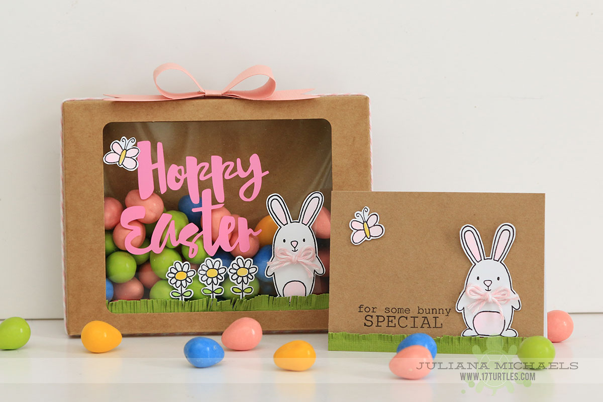 SRM Stickers Blog - Guest Designer - Juliana Michaels & 17 Turtles - #17turtles #digicutfiles #easter #hoppyeaster #janesdoodles #clearstamps #kraftwindowboxes #spring #giftbox #DIY