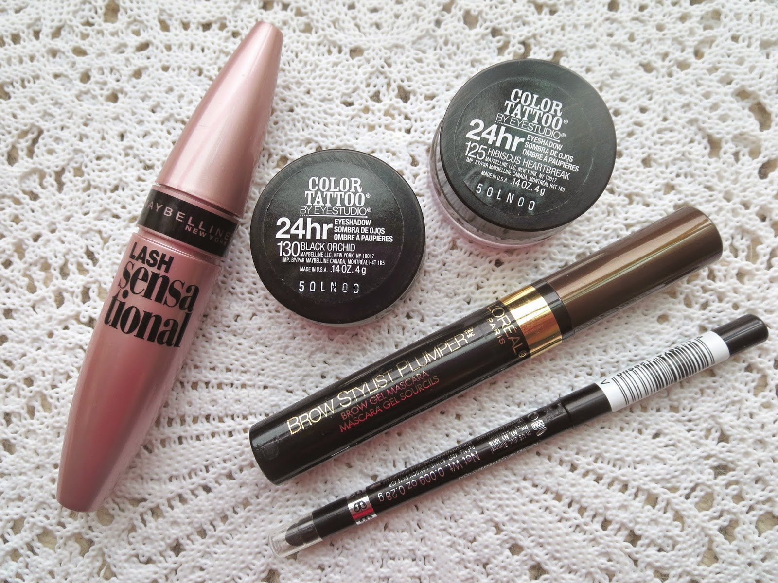 a picture of top 10 products under 10 dollars : Maybelline Lash Sensational, Maybelline Color Tattoo, L'Oreal Brow Stylist Plumper, Rimmel Exaggerate Waterproof Eye Definer