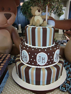 bolo festa urso marron e azul - festa infantil