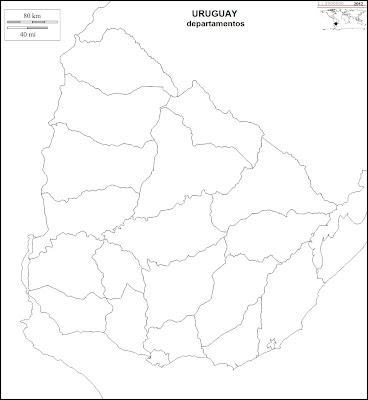Mapa mudo de URUGUAY, departamentos para pintar