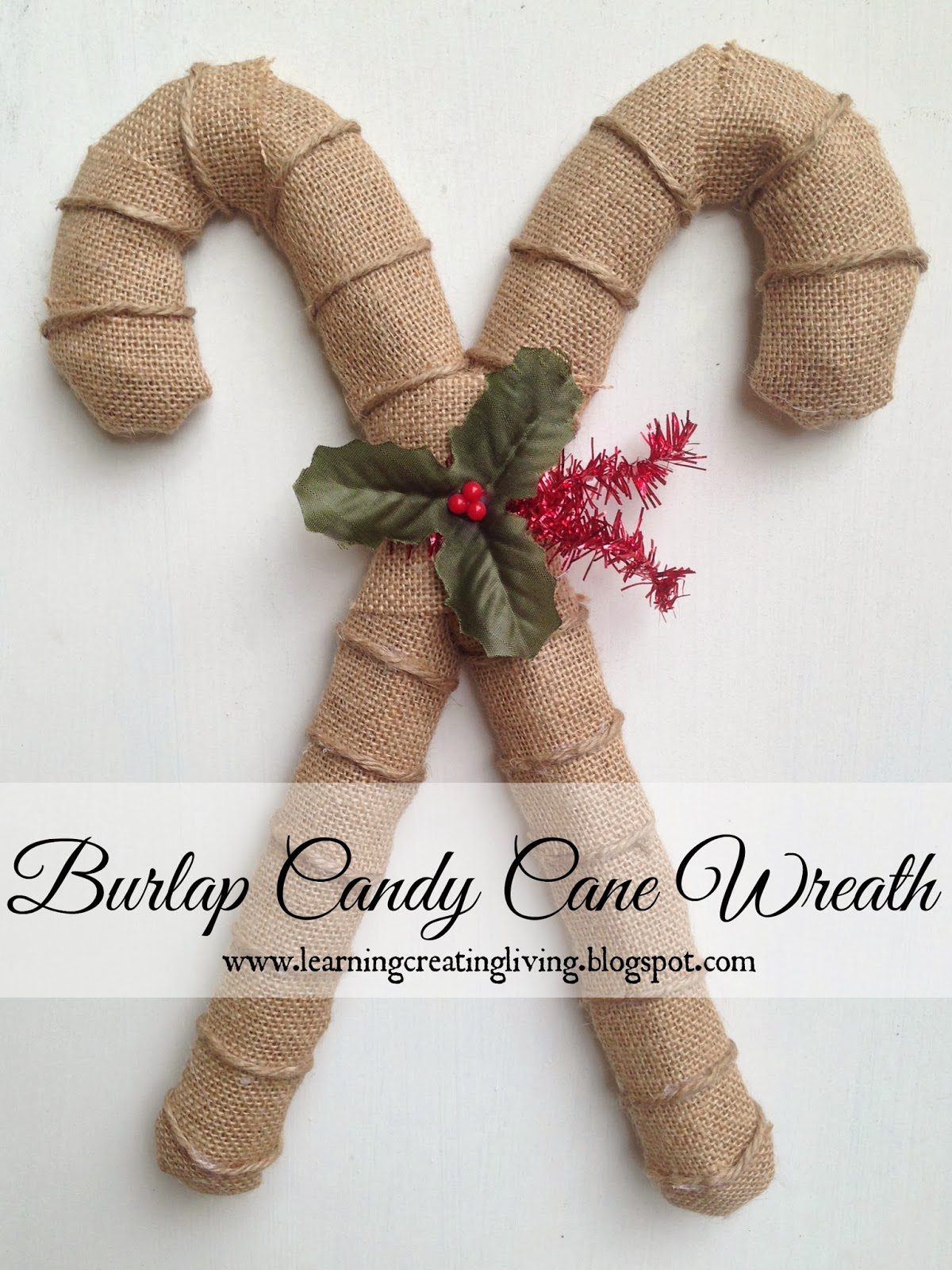 Burlap Candy Cane Wreath - Katelyn Chantel Blog