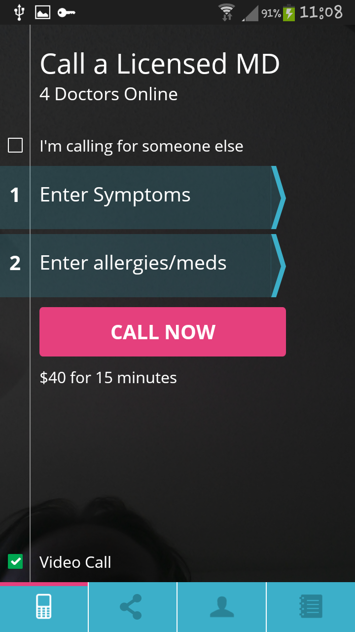 Home Screen for Doctor on Demand