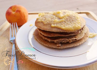 Oatmeal Pancakes with Maple Peach Puree