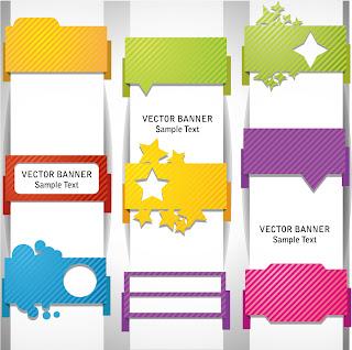 形状の違う巻き付いたバナー wrap angle banner material イラスト素材