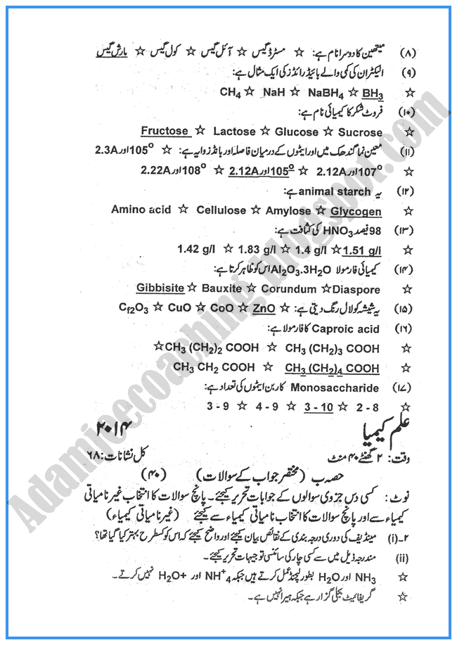 Chemistry-urdu-2014-past-year-paper-class-XII