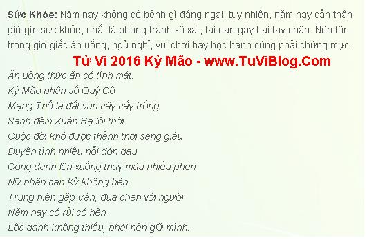Tuoi Ky Mao 1999 Nam 2016