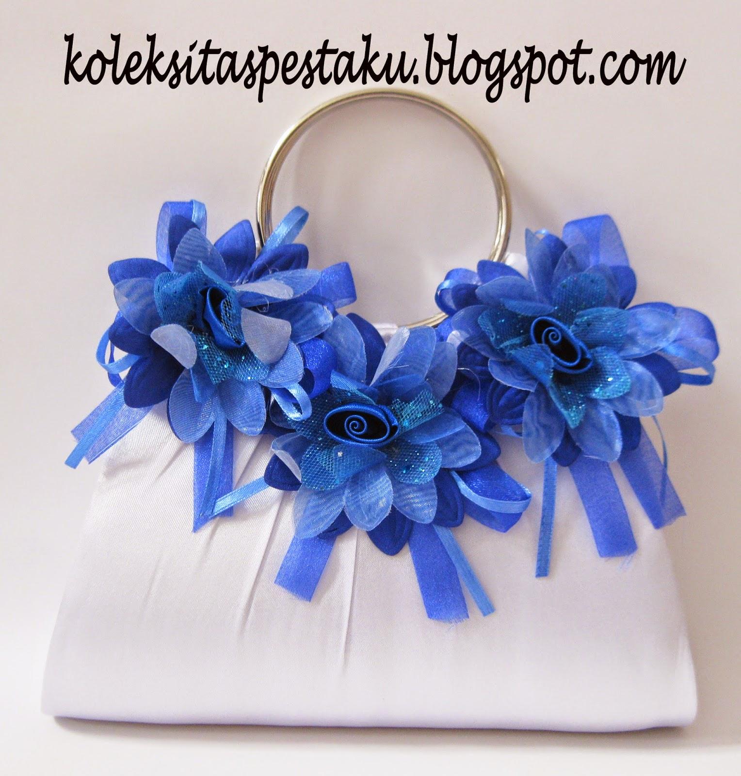 Tas Pesta Bunga Cantik Mewah Putih Biru Elektrik