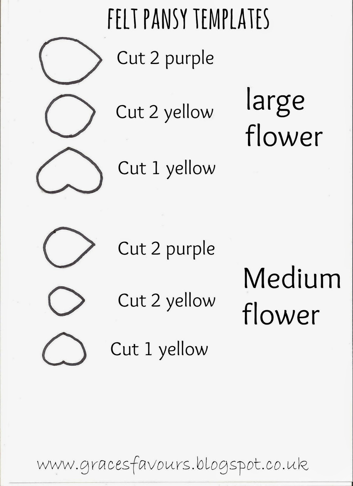 Graces Favours Craft Adventures How To Make A Felt DIY Pansy – Christmas Bookmark Templates