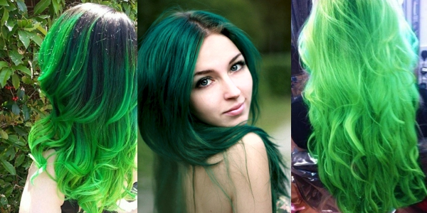 Wild Turquoise To Chartreuse Ombre Color On A Short Stick Straight Bob