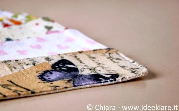 Segnalibro di stoffa fantasia romantica con farfalla