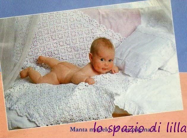 lo spazio di lilla: Copertina per neonato all'uncinetto con bordo a