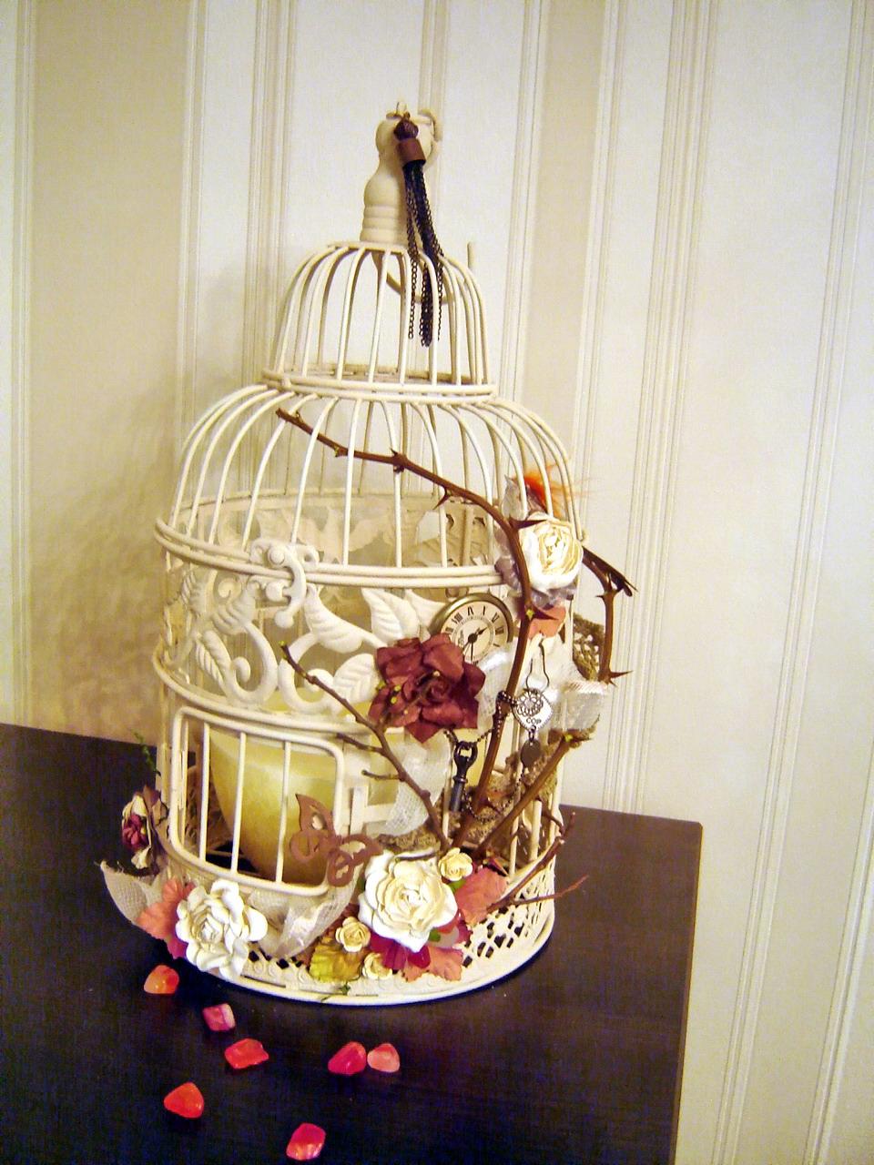 Декоративная клетка с птицами своими руками